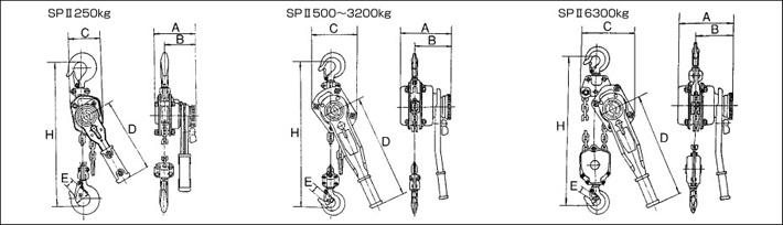 hhh品牌spⅡ型手扳葫芦结构尺寸图