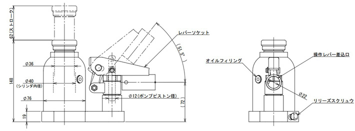 ed-60t鹰牌低型液压千斤顶结构尺寸图1
