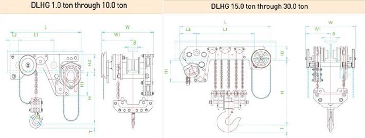 dlhg型低净空手拉葫芦结构尺寸图片