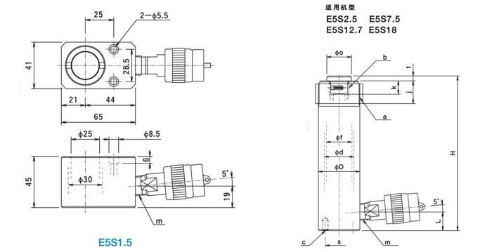 日本oj牌e5s分离式千斤顶结构尺寸图片