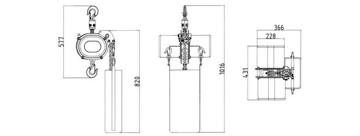 ch-1000舞台环链电动葫芦结构尺寸图片