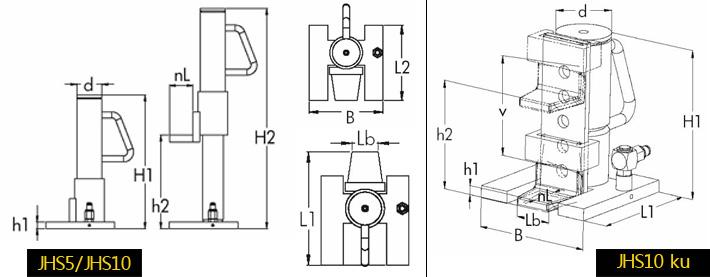 jhs分离式爪式千斤顶结构尺寸图片