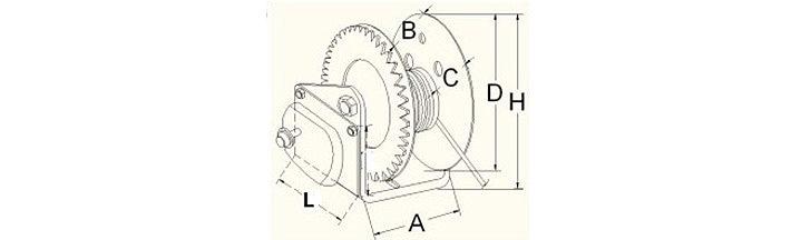 自动刹车手动绞盘结构尺寸图片